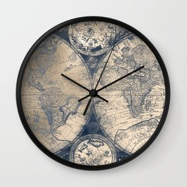 Antique World Map White Gold Navy Blue by Nature Magick Wall Clock