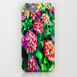 Garden Hydrangea - Raspberry Pink and Lavender iPhone Case