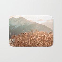 Golden Wheat Mountain // Yellow Heads of Grain Blurry Scenic Peak Bath Mat