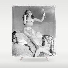 Vintage Mermaid : Mr Peabody & The Mermaid Shower Curtain