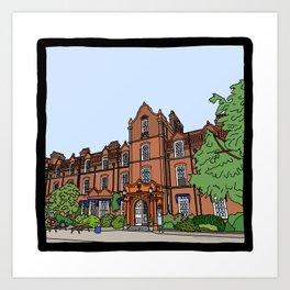Cambridge struggles: Hughes Hall College Art Print