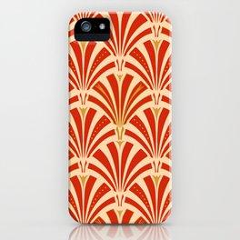 Art Deco Fan Pattern, Mandarin Orange iPhone Case