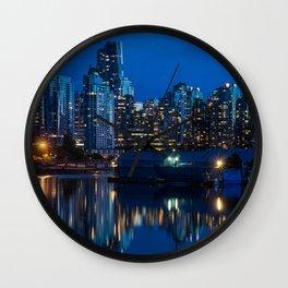 Vancouver at Night Wall Clock