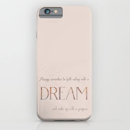 Always remember to fall asleep with a dream - Gold Vintage Glitter Typography iPhone Case
