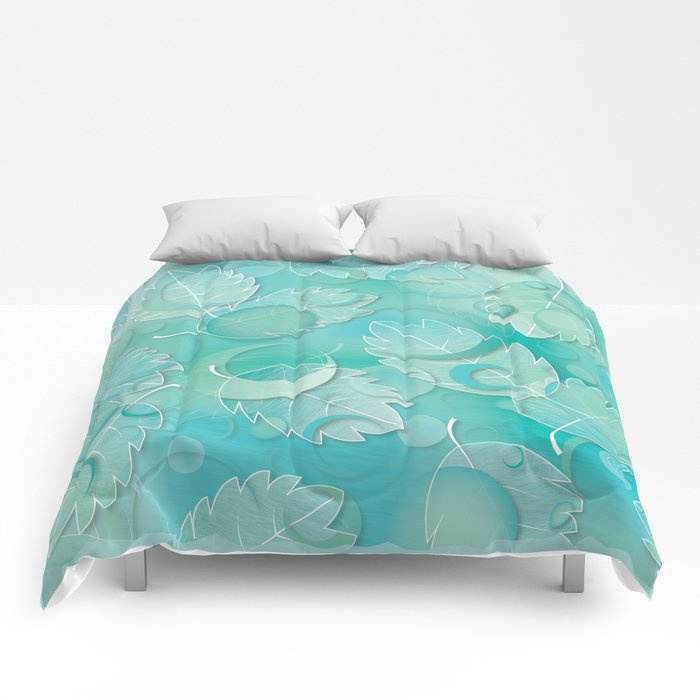 Floating Leaves Pattern IV - Winter, Ice Teal Comforters
