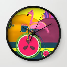 Flamingos Day Out Wall Clock