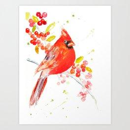 Holiday Cardinal Art Print