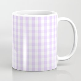 Chalky Pale Lilac Pastel and White Gingham Check Plaid Coffee Mug