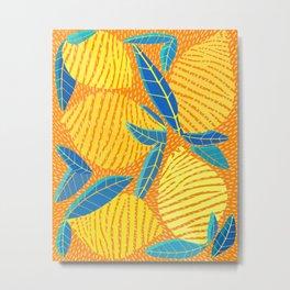 Striped Lemons - Whimsical Fruit Design Metal Print