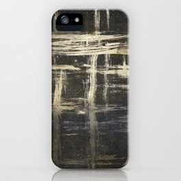 Gold Brushstrokes on Black iPhone Case