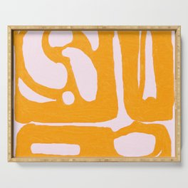 Abstract in Yellow and Cream Serving Tray