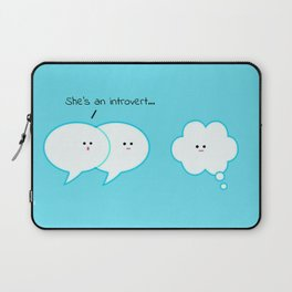 She's an introvert... clouds in blue sky Laptop Sleeve
