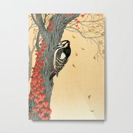 Woodpecker pecking on a tree with red ivy - Japanese vintage woodblock print art Metal Print