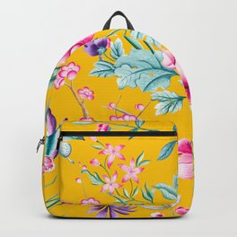 Chinoiserie mustard yellow floral Backpack