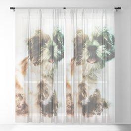 Shih Tzu Digital Watercolor Painting Sheer Curtain