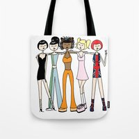 spice girls Tote Bags featuring The Spice Girls by flapper doodle