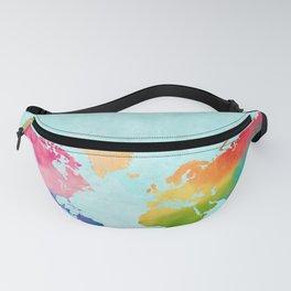 Watercolor World Map Bright Rainbow Adventure Awaits in Aqua Fanny Pack