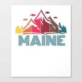 Retro Maine Mountain Design for Men Women and Kids Canvas Print