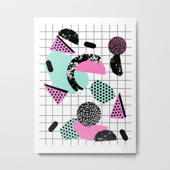 Joshin - memphis throwback retro pop art geoemetric pattern print unique trendy gifts dorm college Metal Print