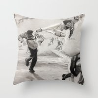 power ranger Throw Pillows featuring 'White Power' Ranger by Isaac Smith