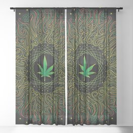 Magic plant. Marijuana leaf. mandala Sheer Curtain