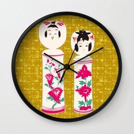 Japanese Kokeshi on Gold-leaf Screen Wall Clock