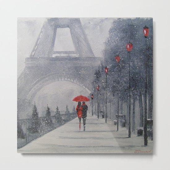 Paris in the snow Metal Print