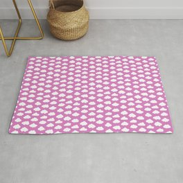 Cartoon Pink Sky and Fluffy Clouds Pattern  Rug