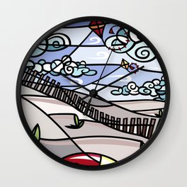 Flying Kites on the Beach Wall Clock