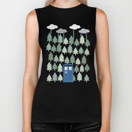 TARDIS lands in the Pacific Northwest Pine Tree Forest - Oregon, Washington, Portland, PDX, Seattle Biker Tank