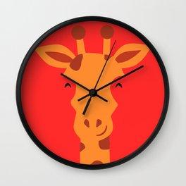 Smiling Giraffe by cammie Wall Clock