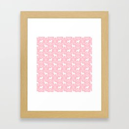 Bichon Frise dog florals silhouette pink and white minimal pet art dog breeds silhouettes Framed Art Print