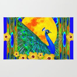 YELLOW HIBISCUS FULL GOLDEN MOON  BLUE PEACOCKS Rug