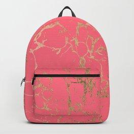 Elegant coral gold faux foil marble pattern Backpack
