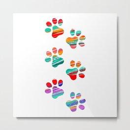 Colorful Cat Tracks Metal Print