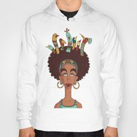 afro Hoodies featuring Afro Birds by Beatrice Roberti