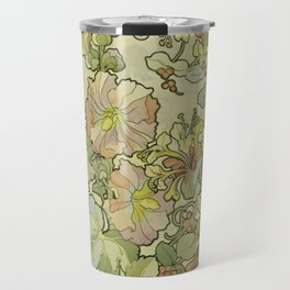 "Alphonse Mucha ""Printed textile design with hollyhocks in foreground"" Travel Mug"