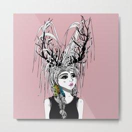 Deer Girl Metal Print