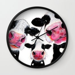 CoW PRiNT ANiMaL PRiNT ' THe NoSeY FaMiLY ' BY SHiRLeY MacARTHuR Wall Clock