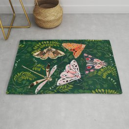Moths and dragonfly Rug