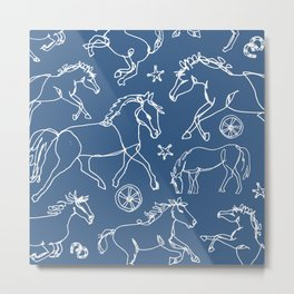 Galloping Horses, White on Navy Blue Metal Print