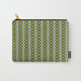 1960's Inspired Green, Yellow, Black and White Pattern Carry-All Pouch