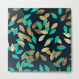 Stylish modern navy blue teal gold leaves pattern Metal Print