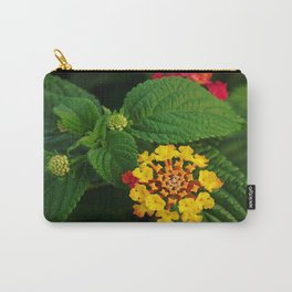 Red and Yellow Lantana Flower and Green Leaves Carry-All Pouch