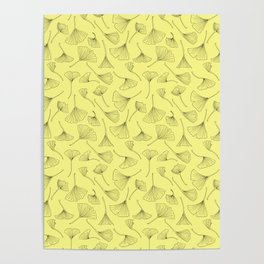 Ginkgo Leaves Pastel Yellow Poster