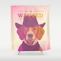 cowboy Shower Curtains featuring Cowboy dog by Oh wow!