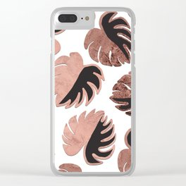 Rose Gold Black Modern Swiss Cheese Monstera Clear iPhone Case