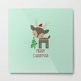 Cute Christmas Deer in a Santa Hat Metal Print