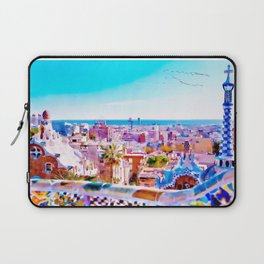 Park Guell Watercolor painting Laptop Sleeve