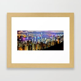 Hong Kong City Skyline Framed Art Print